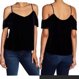 Joie Adorlee black velvet cold shoulder top M